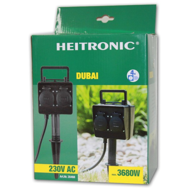 HEITRONIC Dubai Gartensteckdose 4-fach - 4002940354683 | © by teichfreund24.de