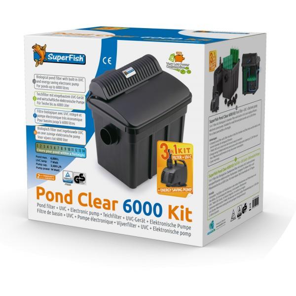 SuperFish Pond Clear 6000 Kit 3-in-1-Teichfilter-Set inkl. 7W UVC + Pumpe - 8715897241499 | by teichfreund24.de