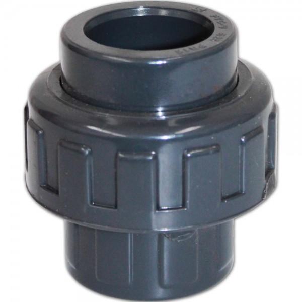 PVC 3/3 Kupplung mit O-Ring Ø 25mm ohne Gewinde | © by teichfreund24.de