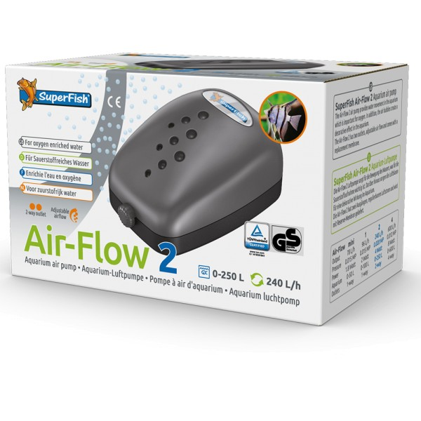 SuperFish Air-Flow 2 Aquarien-Luftpumpe - 8715897006685 | by teichfreund24.de