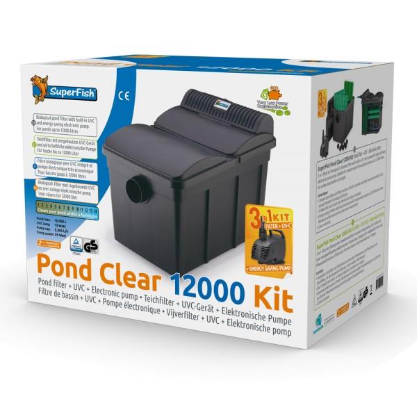 SuperFish Pond Clear 12000 Kit 3-in-1-Teichfilter-Set inkl. 13W UVC + Pumpe - 8715897241505 | by teichfreund24.de